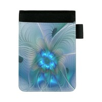 Standing Ovations, Abstract Blue Turquoise Fractal Mini Padfolio