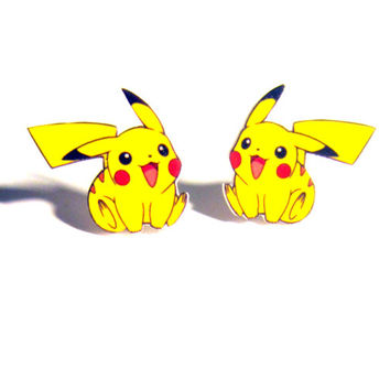 pika earrings, geekery, geek fashion, gifts for nerds, yellow, anime, manga