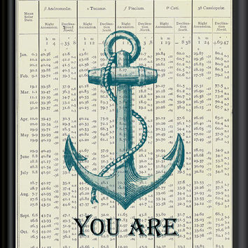 VINTAGE NAUTICAL Anchor  Page from 1900s Almanac