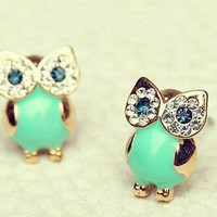 Green Owl Earrings