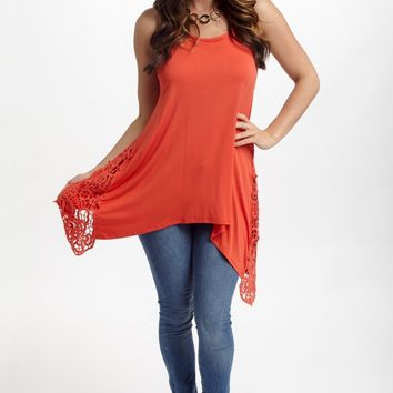 Red Orange Crochet Side Racerback Tank Top