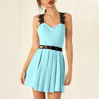 Lace Strap Backless Belted Pleated A-Line Mini Dress