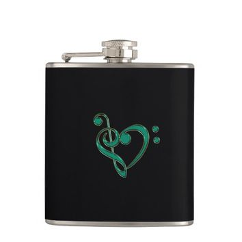 Jade Green Treble Bass Clef Heart Music Flask