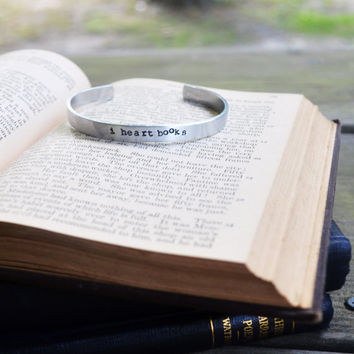 I Heart Books Bracelet - Cuff - Writer - Reader - Book - Modern - Rustic - Looks Like Silver - Hand Stamped - Under 20 - For Her