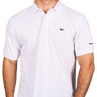 Classic Pique Polo in White, Featuring Longshanks the Fox by Vineyard Vines