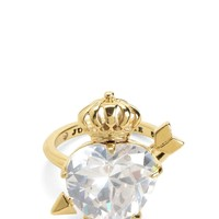 Gold Stone Heart & Crown Cocktail Ring by Juicy Couture,