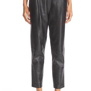 Vince Pleat Front Soft Leather Crop Pants | Nordstrom