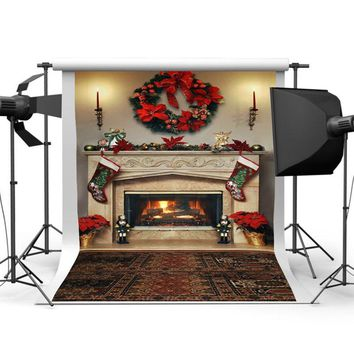 7x5ft Christmas Fireplace Photography Backdrop Vinyl Studio Background Photoprop