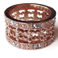 Rose Gold and Austrian Crystal Fleur de lis Band - CLEARANCE
