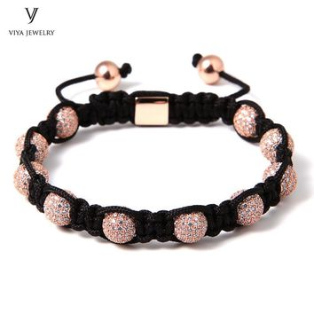 New Luxury Brand  Rose Gold Color Drill Ball Macrame Bracelet  Jewelry For Men 8mm Micro Pave White CZ Beads Braiding Bracelet