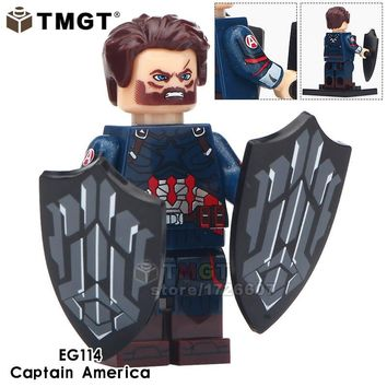 TMGT Single Sale Marvel Super Heroes Infinity Wars Avengers 3 Captain America Spiderman Building Blocks Toys Legoinglys Friends