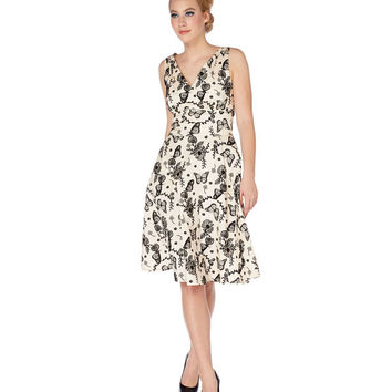 Voodoo Vixen Monarch Butterfly Flocked Swing Dress - 1 LEFT -Medium