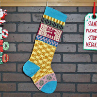 Christmas Stocking, Hand Knit Stocking, Fair Isle Stocking with Aqua Cuff and Pink Reindeer, can be personalized, wedding gift, baby gift