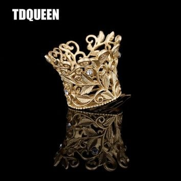 TDQUEEN Tiaras And Crown Golden Plated Wedding Hair Jewelry Girls New Baby Photo Hair Accessories Hair Comb Clips Pin Tiara