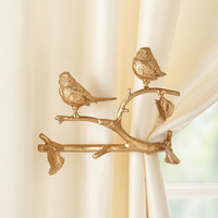 Feathered Friends Curtain Holdback, Set of Two - Janice Minor Export