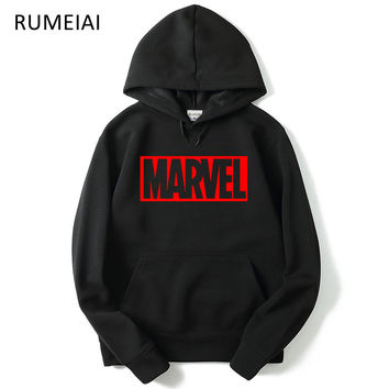 RUMEIAI Brand 2017 New Women/Men's Casual Marvel Print Hedging Hooded Fleece Sweatshirt Hoodies Pullover clothing Size M-XXL