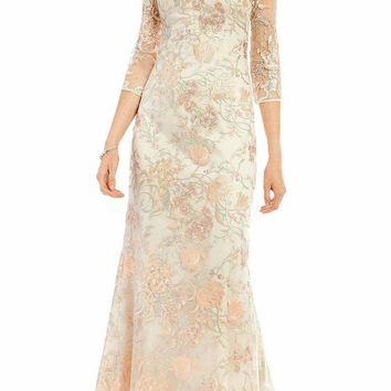 Aidan Mattox - MD1E201009 Sheer Embroidered Lace Gown