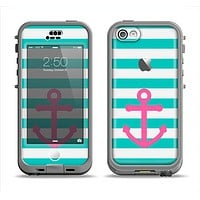 The Teal Striped Pink Anchor Apple iPhone 5c LifeProof Nuud Case Skin Set