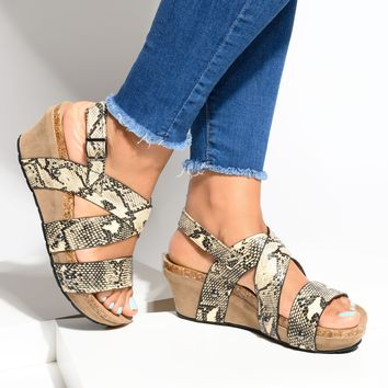 Faux Leather Strappy Snake Wedges