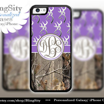 Monogram Iphone 5C case Browning Purple iPhone 5s iPhone 4 case Ipod 4 5 case Real Tree Camo Deer Personalized Country Inspired Girl
