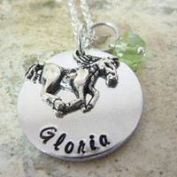 Personalized Horse Necklace Equestrian necklace Hand stamped jewelry