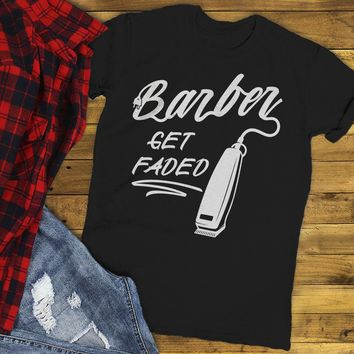 Men's Barber T-Shirt Get Faded Vintage Tee Clippers Barbers Shirt