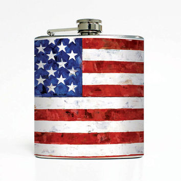 US Flag, American Flag 6 Oz Liquor Stainless Steel Hip Flask Weddings Groomsmen Bridesmaids Gift Whiskey Flask