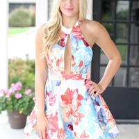 Haute Floral Dress - Blue and Orange