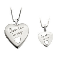 Mother and Daughter Matching Heart Locket and Pendant Set in Sterling Silver - View All Necklaces - Zales