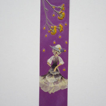 "Unique handmade bookmark ""The hat protects the head"" - Decorated with dried pressed flowers and herbs - Original art collage."