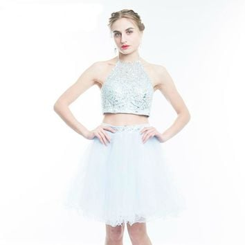 2 Piece Style Short Prom Dress Sexy Backless Light Blue Tulle Evening Dress Luxury Crystal A-Line Party Gown