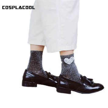 [COSPLACOOL]Fall/Winter Love Heart Glitter Socks Women Fashion Silver Gold Silk Colorful Shining Meias Shiny Calcetines Mujer