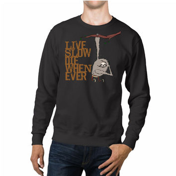 Funny Live Slow Die Whenever Sloth Unisex Sweaters - 54R Sweater