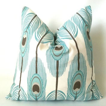 Aqua Taupe Peacock Pillow Cover - 18 x 18, One, Feather Pillow, Blue Brown Pillow, Aqua Pillow, Beach Pillow, Modern Decorative Pillow Cover