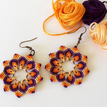 Flower Textile Boho Earrings Mandala Macrame orange purple