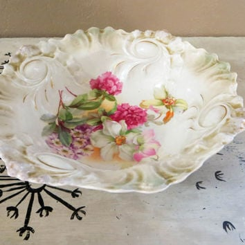 Porcelain Bowl Germany Bowl Antique Floral Bowl with Scrolled Edges Cottage Decor Shabby Chic Bowl Cottage Bowl Collectible Bowl