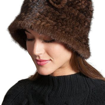 Overland Sheepskin Co Knitted Danish Mink Fur Cloche Hat With Removable Floret