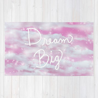 Dream Big in Pink Area & Throw Rug by Lisa Argyropoulos