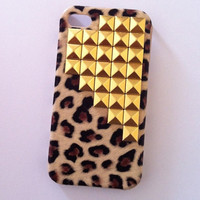 Leopard x Gold Studs iPhone 4 4s Case