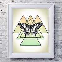 Geometric Triangle + Butterfly Pastel Poster Print // Boho Decor - Nature Print - Wildlife Art // Bohemian Wall Art- Minimalist Art Print