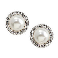 Nadri Pearl Pave Frame 8mm Stud Earrings | Dillards.com