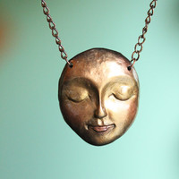 Goddess Wild, Woman Child // Clay Face Necklace