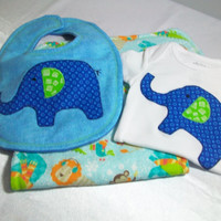 Baby Boy Bodysuit Gift Set - Appliqued Bodysuit Set - Elephant Baby Bib Set - Minky Burp Cloth
