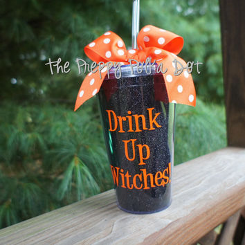 Drink Up Witches! Halloween Glitter Tumbler Cup with Lid & Straw