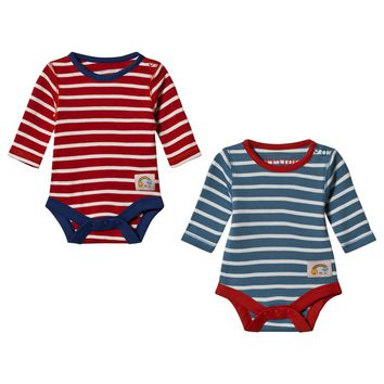 Frugi 2 Pack Blue and Red Striped Bodies | AlexandAlexa