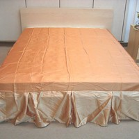 "DaDa Bedding Butter Scotch Caramel Shiny Solid Gold Beige Tan Dust Ruffle Pleated Bed Skirt - 14"" Drop - (BS-BM4578)"