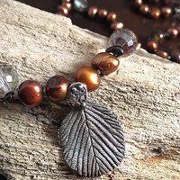 Nature Inspired, Necklace, Silver, Handmade, Hand Painted Leaf, Fall, Freshwater Pearls, Tiger's Eye, Garnet, Autumn