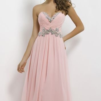 Chiffon Strapless Dress by Blush by Alexia