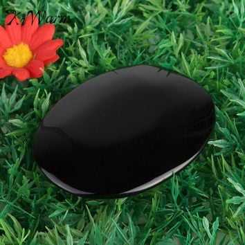 KiWarm Exquisite Large Black Obsidian Scrying Mirror Crystal Gemstone Healing Stone Feng Shui Crafts Home Decor Gift 5.5cm*7.3cm
