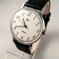 "Sleek Vintage Men's ""RAY"" (LUCH) wristwatch. Classic dial, round face, Quartz USSR watch. Gift for him"
